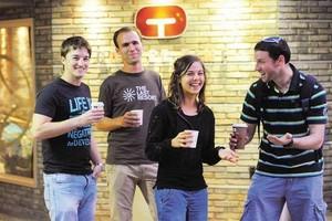 רוצים להיות כמו שאר האוניברסיטאות. יוזמי מחאת הקפה בבר-אילן צילום: ראובן קסטרו