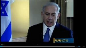 נתניהו מדבר על השארת התנחלויות מחוץ להסדר. מסרב להישיר מבט. (צילומסך מתוך הראיון בערוץ 2)