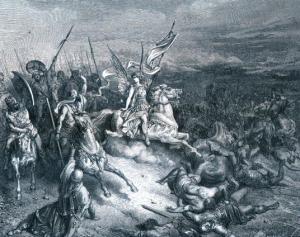 נצחונו של יהודה המכבי - יהודה מכריע - תחריט נחושת מאת גוסטב דורה, צייר צרפתי,