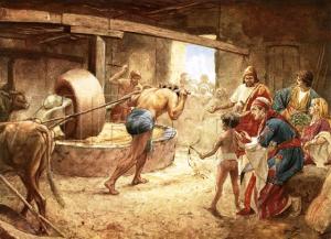 תמונתו של שמשון מנוקר העיניים טוחן בבית האסורים - ציורו של ויליאם הול