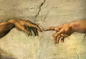 """יוצר האדם, יוצר הברית. """"בריאת האדם"""", מיכלאנג'לו"""