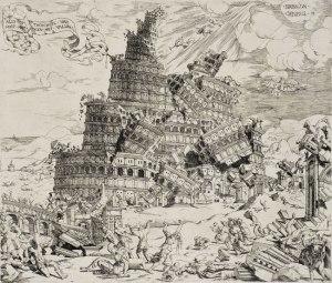 קריסת מגדל בבל ציור הולנדי מן המאה ה-16