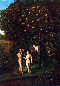 נפילת האדם - אדם וחוה אוכלים מעץ הדעת, ציור מעשה ידי לוקאס קראנאך האב, המאה ה-16.