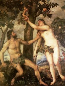 ציור של החטא הקדמון מאת הצייר האיטלקי טיציאן מן המאה ה-15