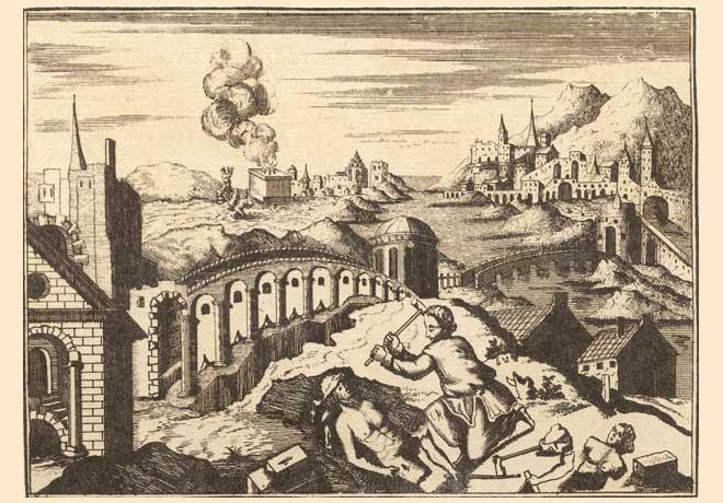 אברהם מנפץ את פסילי אביו נחור, איור מתוך 'הגדת אמסטרדם', 1695