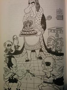 קריקטורה של הנהגת המערך. מתוך ספרם של סלפטר ואליצור, הממסד