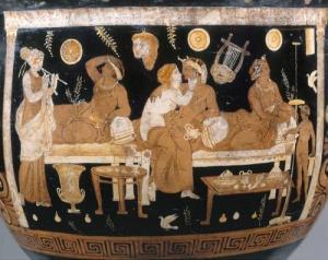 """איור משתה יווני על כד, המאה ה-4 לפנ""""הס - המרחב הציבורי אליבא דבג""""ץ המאה ה-21 לספירה."""