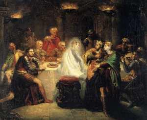 ציור של תיאודור שסריו, צייר צרפתי בן המאה ה-19 של מקבת' הרואה את רוח הרפאים של קורבן רציחתו - כך אני ראיתי את ואל תוכי