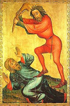 """איור בסגנון גותי של קין מכה את הבל. מאת האמן מייסטר ברטרם, מסוף המאה הי""""ד. האיור נמצא על המזבח של כנסיית  פטרי הקדוש בהמבורג, גרמניה."""