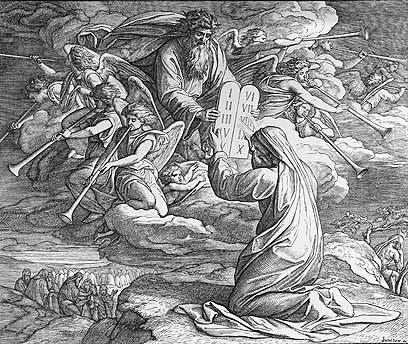 משה מקבל מאלוהים את לוחות הברית במעמד הר סיני. ציור משנת 1850 של  Julius Schnorr von Carol