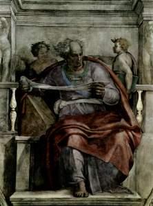 הנביא יואל, מתוך הפרסקו בקפלה הסיסטינית, מיכאלנג'לו