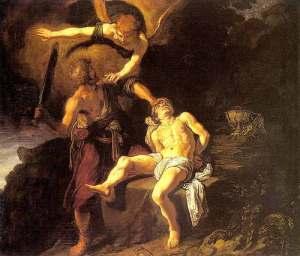 ציור של עקידת יצחק - פיטר לסטמן - הרגע בו נוצר הקו המפריד.
